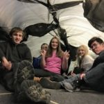 Inside their inflatable fort, the class of Making Things Fly camp, December 2018