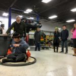 Even parents join in some hovercraft fun after class. Making Things Fly camp, December, 2018